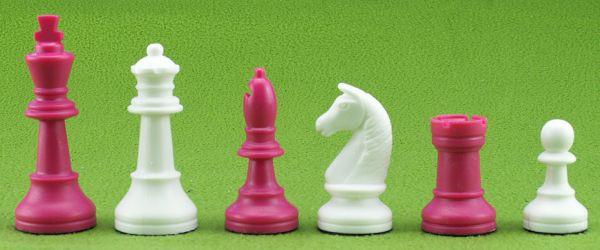 Schachfiguren Kunststoff pink/weiß, Königshöhe 93 mm