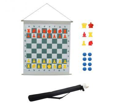 Schach Demonstrationsbrett rollbar inkl. Tragetasche, Feldgröße 70 mm