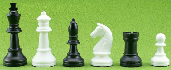 Schachfiguren Kunststoff schwarz/weiß, Königshöhe 93 mm
