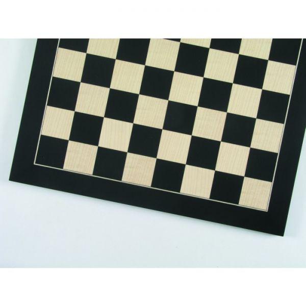 Turnierschachbrett Anigré schwarz und Ahorn, Feldgröße 55 mm