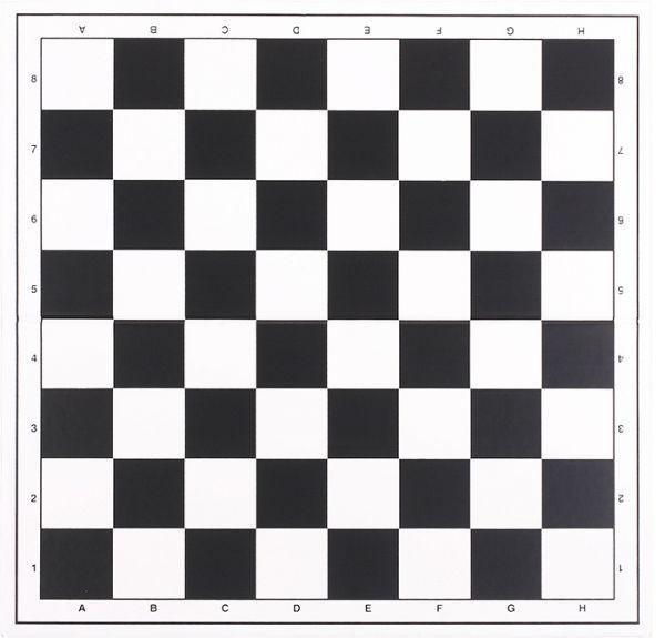 Turnierschachbrett aus Kunststoff, Feldgröße 55 mm, weiß/schwarz mit Randbeschriftung, klappbar
