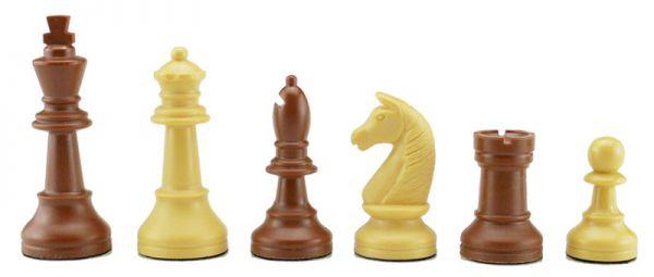 Schachfiguren Kunststoff beige/braun, Königshöhe 93 mm