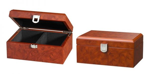 Schachfigurenbox Wurzelholzdesign 180/120/83 mm klein