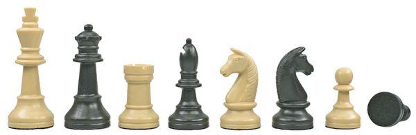 Schachfiguren Kunststoff schwarz/beige, Königshöhe 93 mm