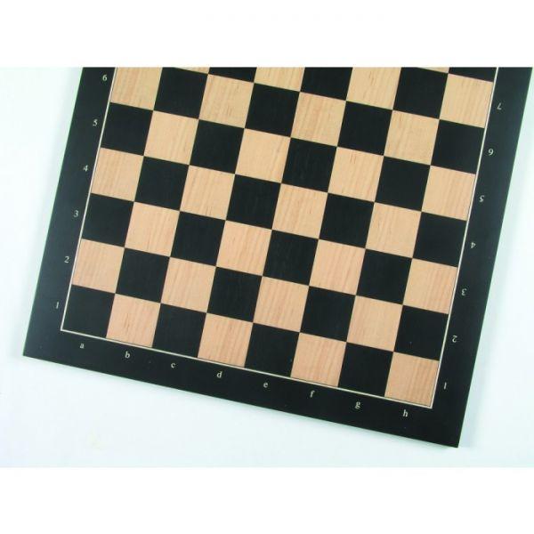 Turnierschachbrett Anigré schwarz und Ahorn, Feldgröße 55 mm, Randbeschriftung