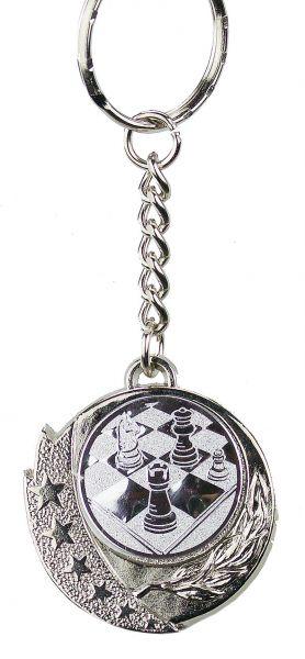 Schlüsselanhänger mit Schachemblem silberfarbig