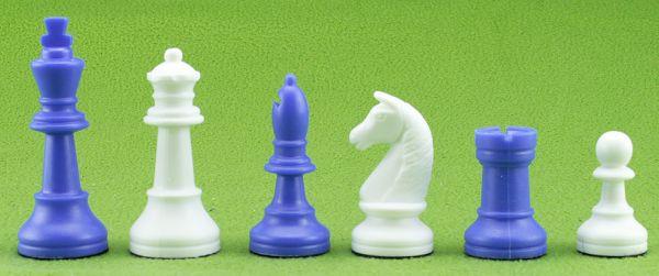 Schachfiguren Kunststoff blau/weiß, Königshöhe 93 mm