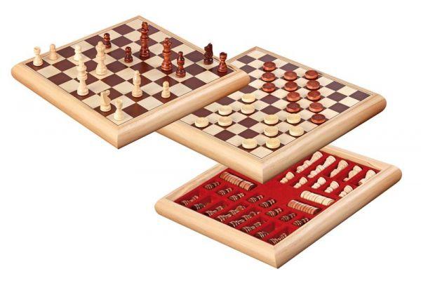 Schach-Dame-Set, Holzbox, Königshöhe 65 mm, Feldgröße 35 mm