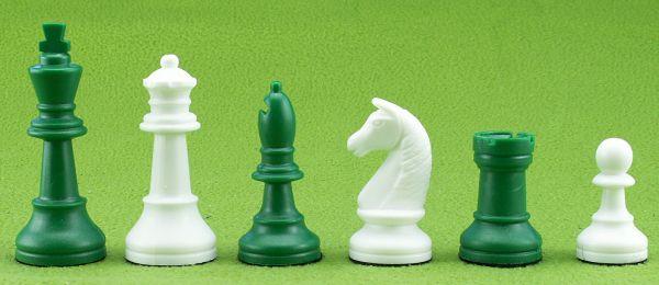 Schachfiguren Kunststoff grün/weiß, Königshöhe 93 mm