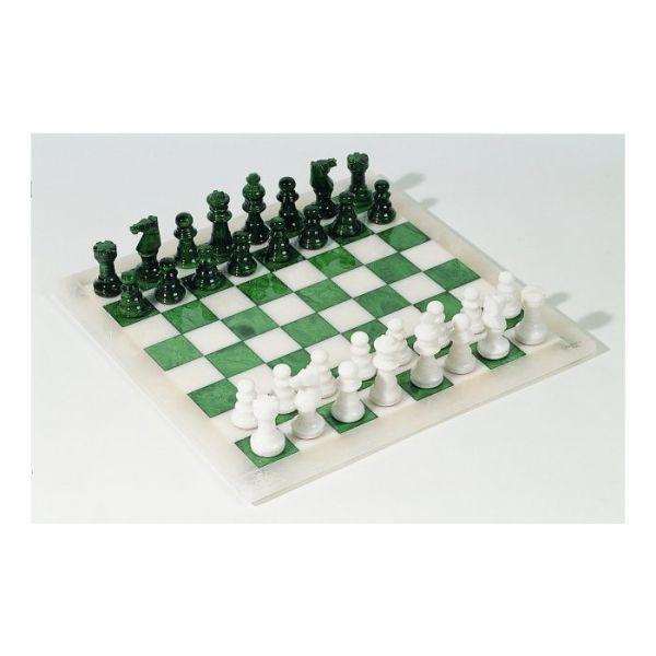 Schachset Alabaster grün und weiß, Königshöhe 73 mm, Feldgröße 40 mm