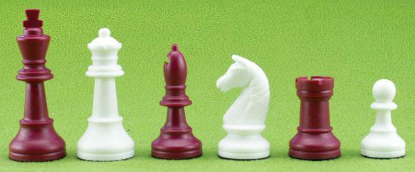 Schachfiguren Kunststoff rot/weiß, Königshöhe 93 mm